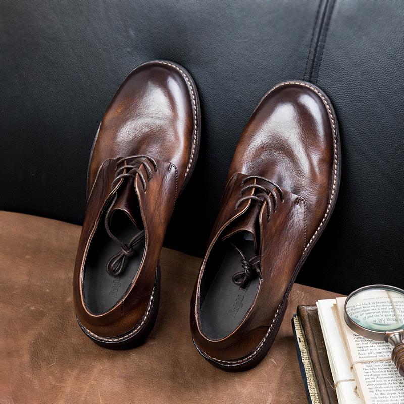 英伦复古v手工手工男底工皮鞋擦色做旧牛皮鞋大头鞋软真皮装鞋圆头