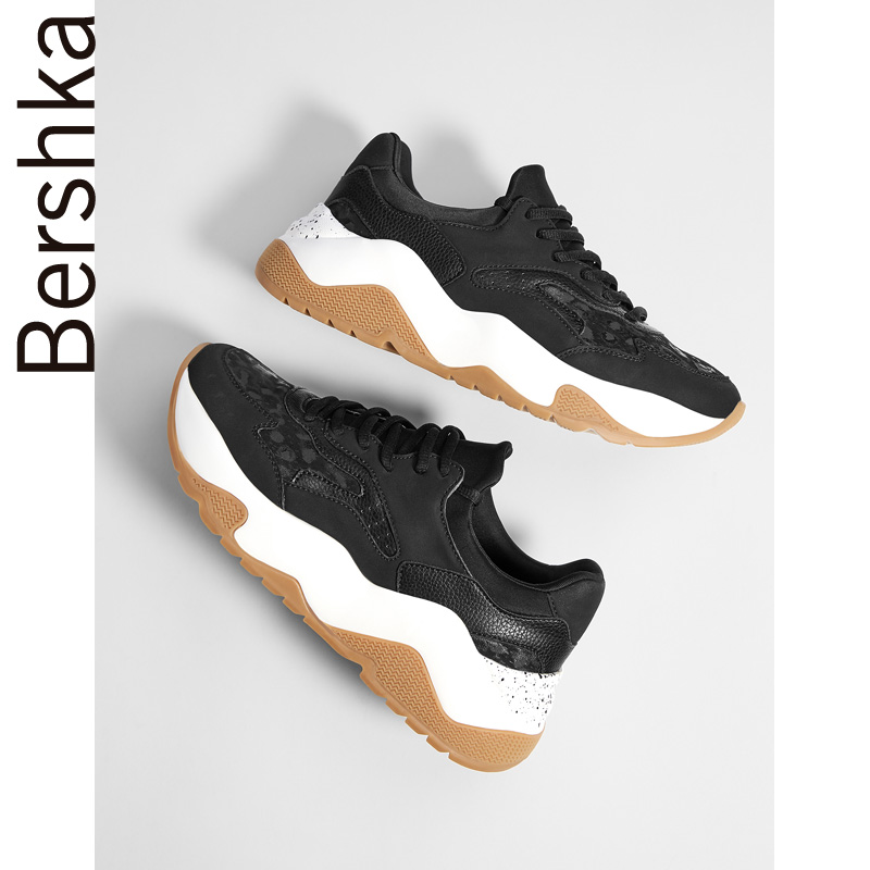 7537031ee7d Bershka women s shoes 2018 autumn new fashion old shoes stitching platform  sports shoes 15265331040