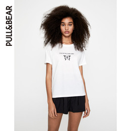 PULL-BEAR short-sleeved t-shirt women's spring and summer new butterfly pattern and printed white T-shirt 05234389