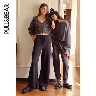 PULL&BEAR women's spring and summer new casual trousers black flannel wide tube trousers loose 09678320
