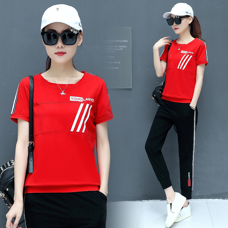 dab9ad2f545b0 Sports suit female Summer 2018 new Korean fashion loose short-sleeved  casual clothes large size summer two-piece tide