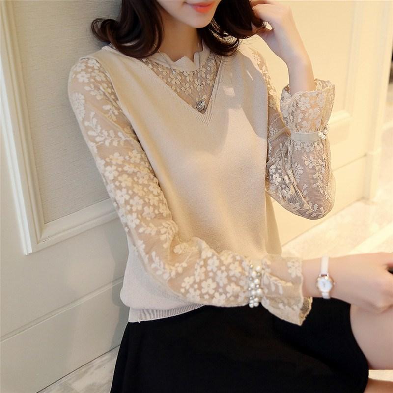 薄款韩版针织衫冰麻短款拼接背心袖毛衣雪纺蕾丝女外套假两件圆领