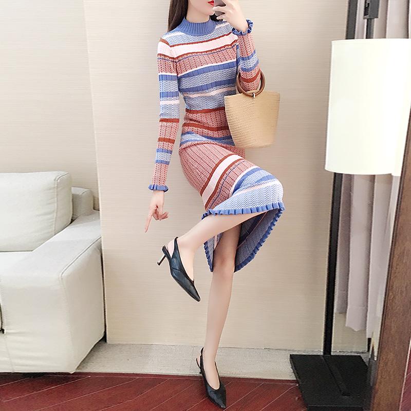 条纹针织连衣裙女2019新款秋冬季女装内搭打底长款毛衣裙过膝长裙