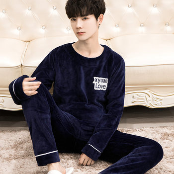 Men's autumn and winter flannel pajamas set plus fat plus size student coral fleece two-piece suit winter home service