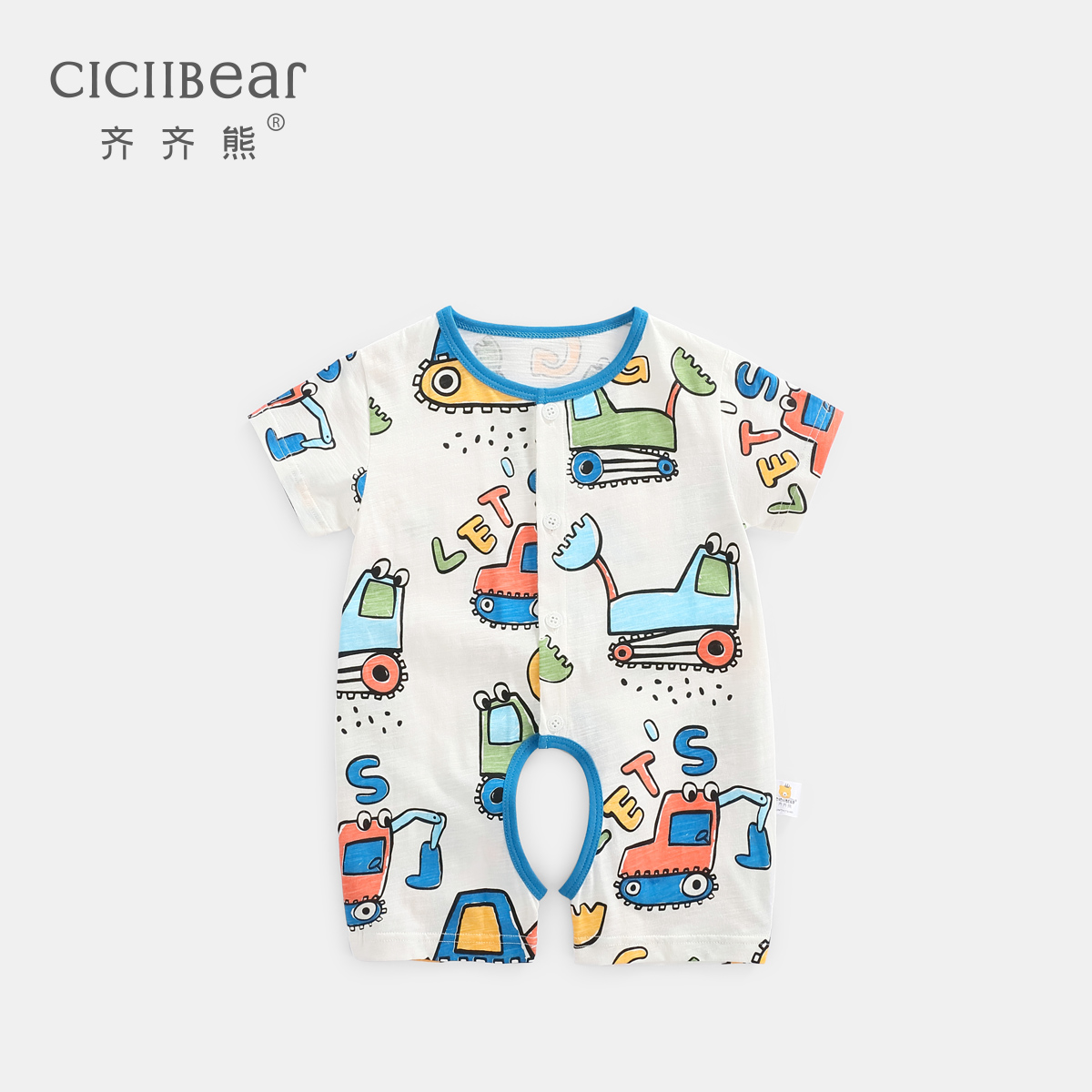 Qi Qi bear infant cartoon printing short-sleeved Siamese men and women baby cotton casual open crotch climbing thin section