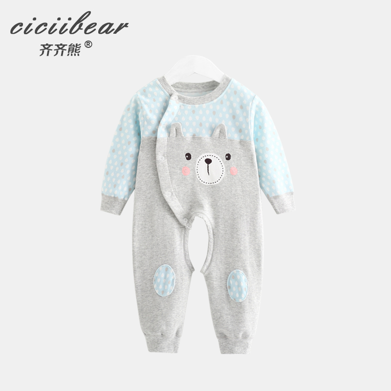 And models under the shelf men and women Baby long-sleeved open file body clothes infants cartoon oblique lapel cotton underwear romper climbing clothes