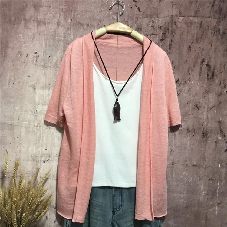 Phụ nữ mới mùa hè mỏng phần tinh khiết khăn choàng len áo choàng bên ngoài mặc nữ lỏng lẻo kích thước lớn áo len ngắn tay - Cardigan