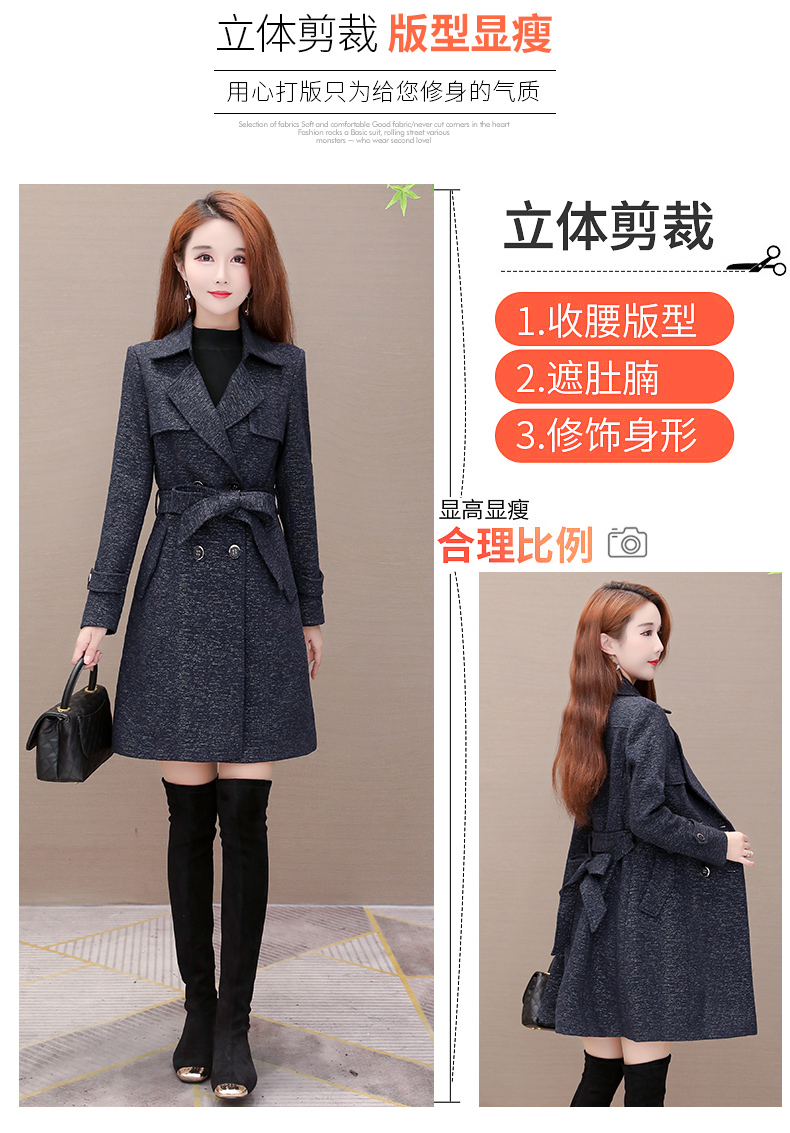 Women's windshield 2020 new spring and autumn fashion Korean version show thin tie with double-row button small jacket jacket 47 Online shopping Bangladesh