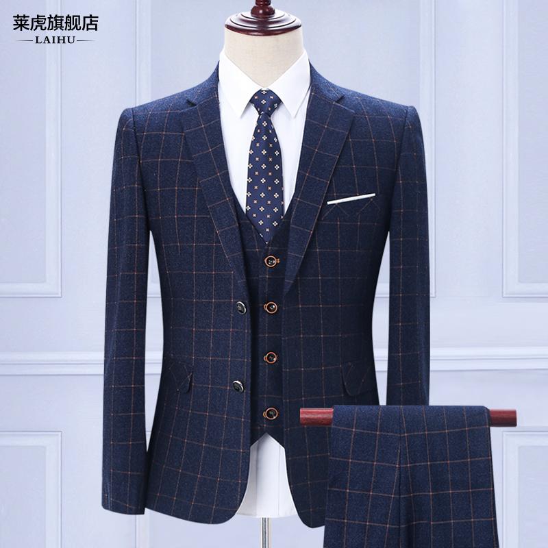 男士西服套装三件套韩版修身英伦休闲潮新郎结婚礼服格子小西装男