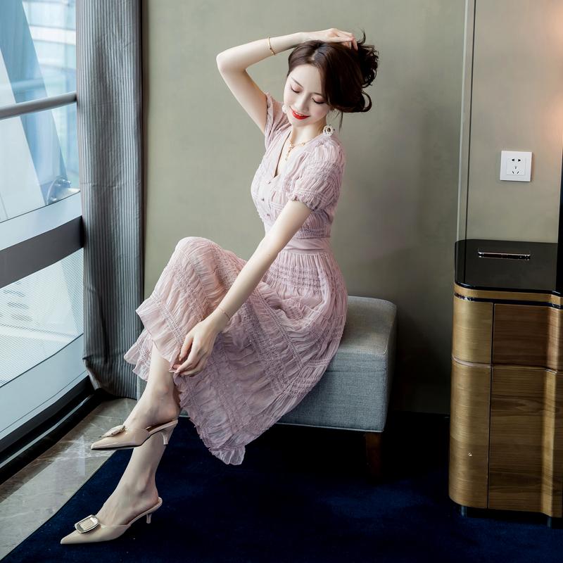 韩版OL女士夏季长裙V领显瘦新品时尚潮流舒适瑞丽名媛v女士连衣裙