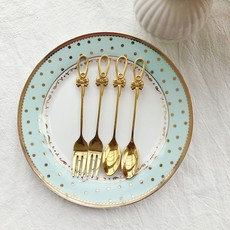 Zakka Japanese girlie bow gold spoon fork afternoon tea dessert coffee spoon fork stir spoon fruit fork