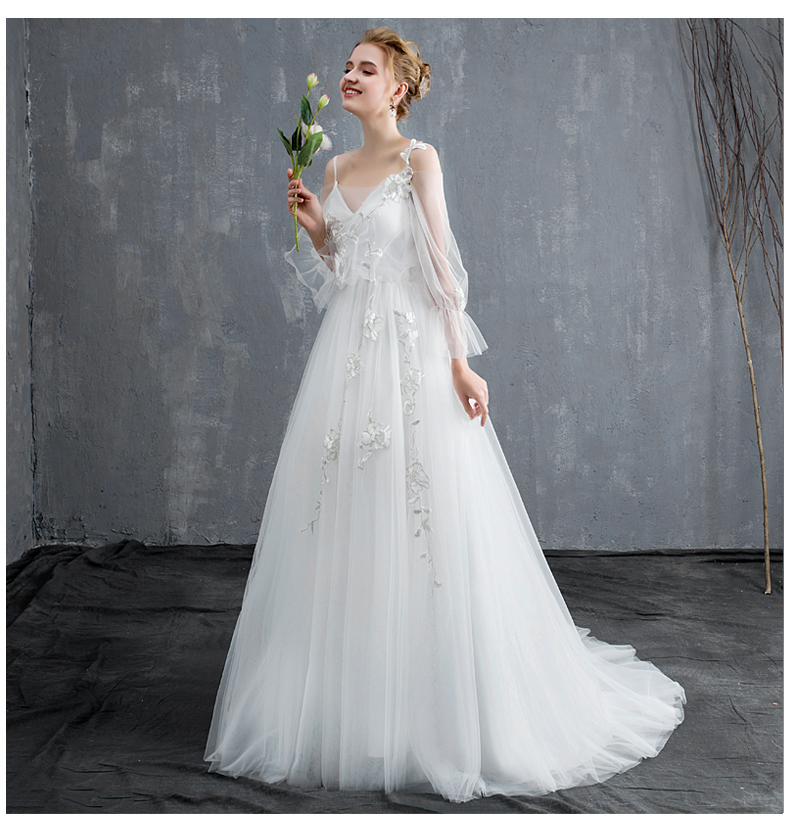 32270764159d Sen wedding dress 2019 new super fairy word shoulder simple light ...