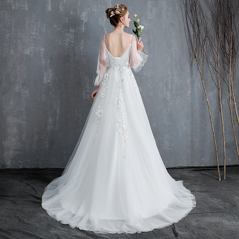 f28b86dccb22 Sen wedding dress 2019 new super fairy word shoulder simple light bride  French small summer tail female