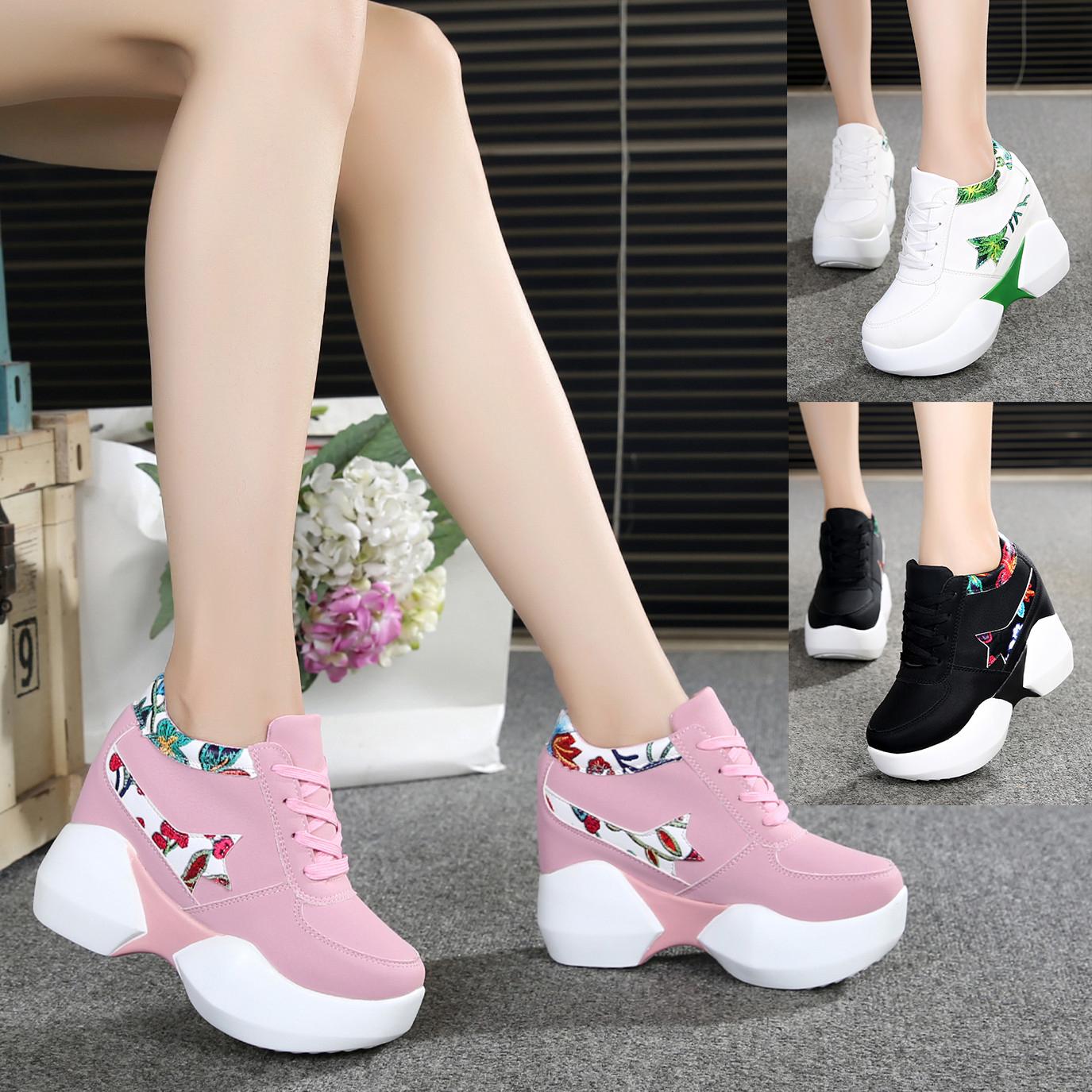 内增高运动鞋春季女士新款2018百搭韩版坡跟厚底超高跟休闲鞋单鞋