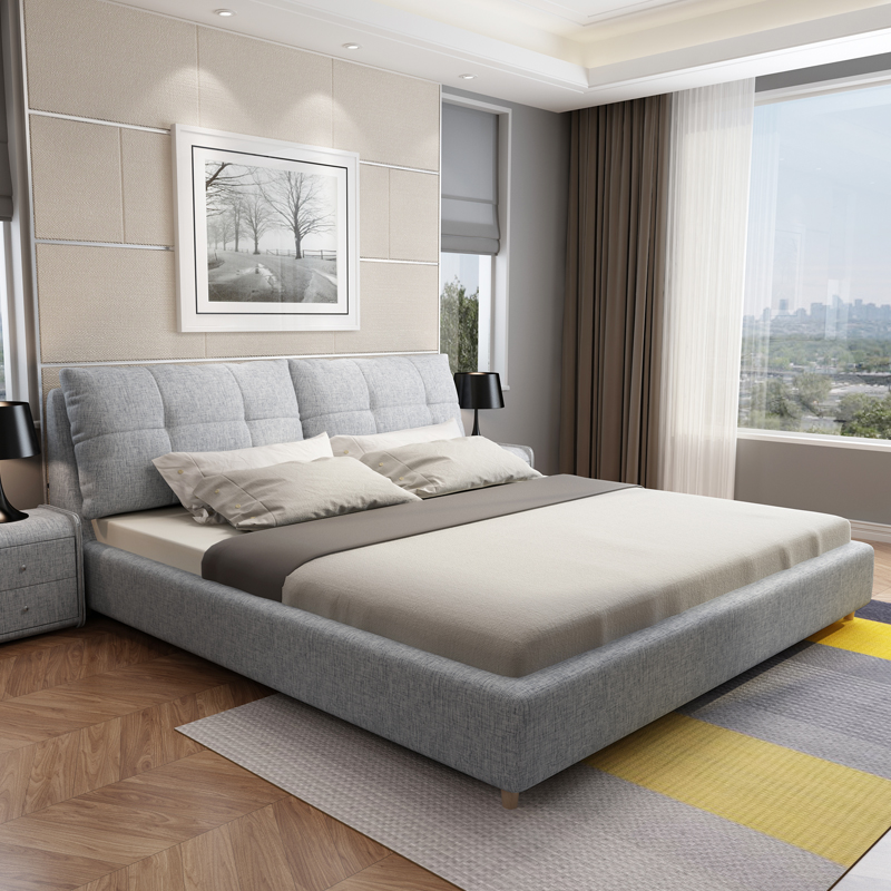 Fabric Bed Simple Modern Master Bedroom Double Bed 1 8 Meters