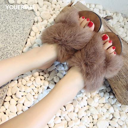 优而美 外穿社会平底时尚秋季网红兔毛鞋券后13.9元包邮