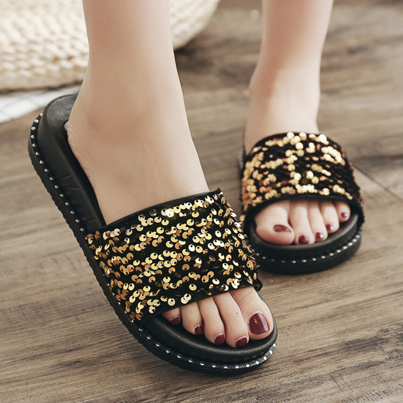 Flip Flops Learned Beach Shoes Slippers Summer Fashion Wear Seaside Non-slip Thick Bottom Wedges With Feet Sandals Holiday Flowers Flip Flops Long Performance Life