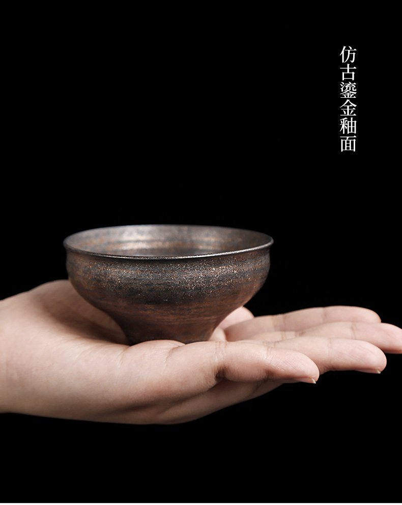 By patterns coarse pottery bronze and gold hat lamp cup kung fu small ceramic cups in use only master cup cup of move