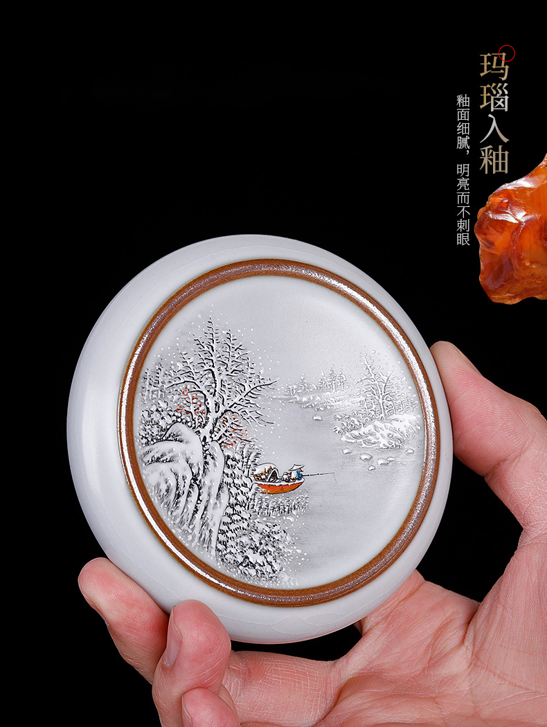 Pure manual cover your up hand - made employ slicing can keep Chinese wind it cover cup pallet tea accessories