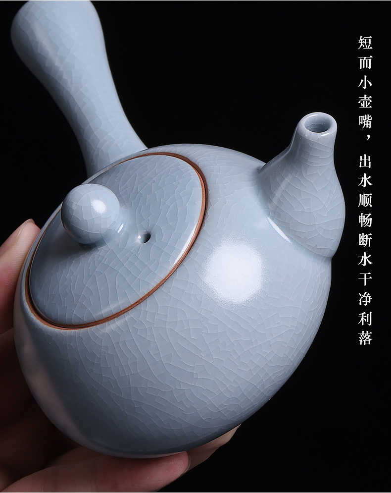 Open the slice your up teapot single pot teapot ice crack glaze ceramic side the cyan kung fu tea set for its ehrs single pot of day