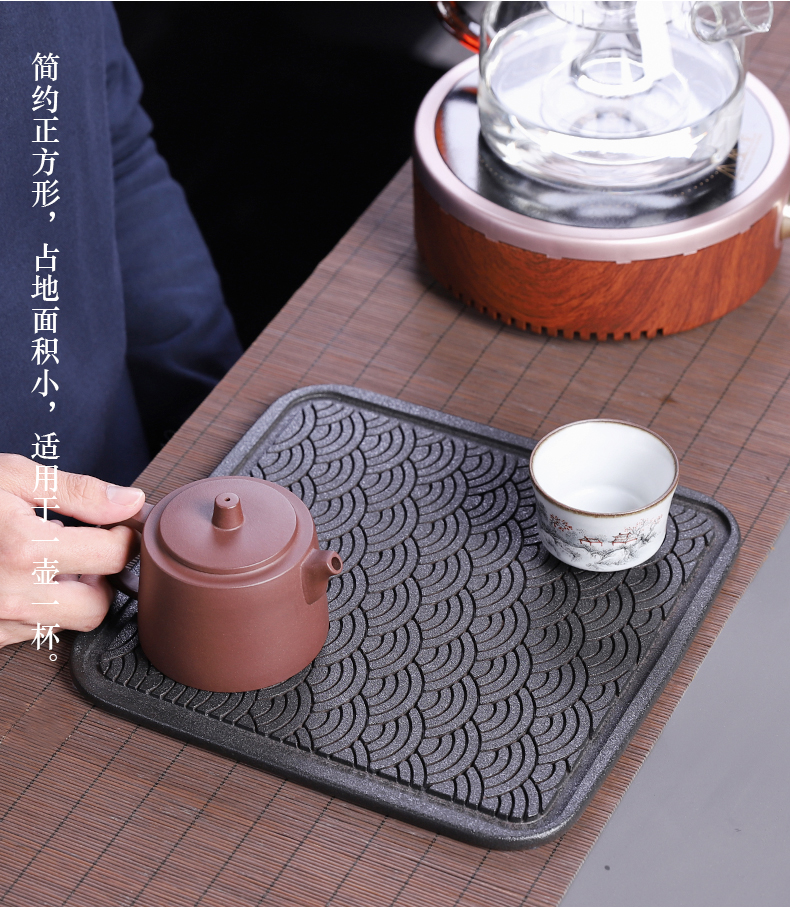 Dry tea tray tray household contracted porcelain ceramic creative modern square Japanese archaize coarse pottery, black pottery