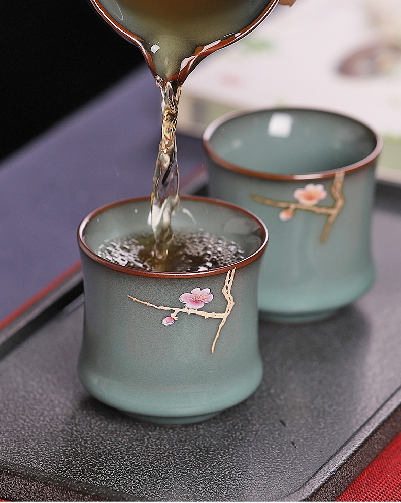 The Master cup single open piece of kung fu tea tea is the glass ceramic sample tea cup up with special iron tea light cup single flat