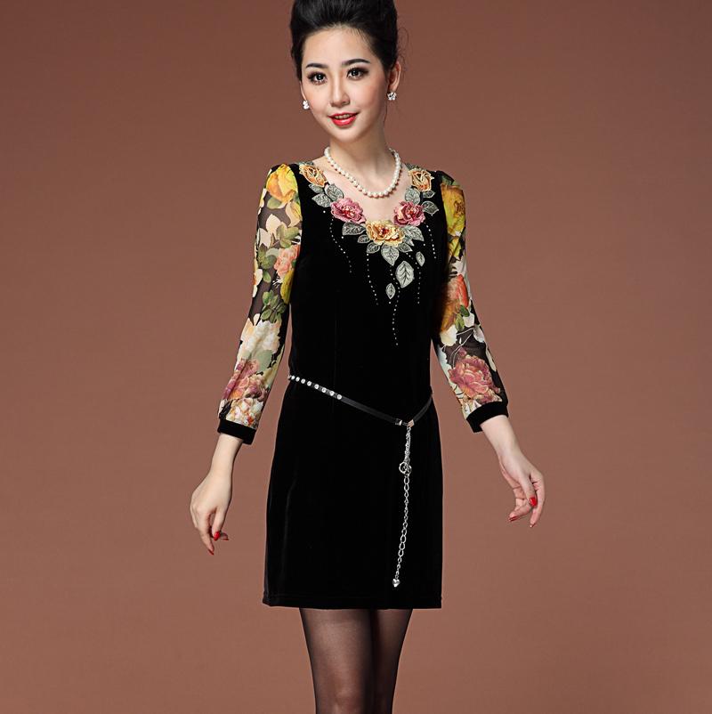 包邮2015春装新款连衣裙气质中老年妈妈装显瘦刺绣丝绒长袖连衣裙