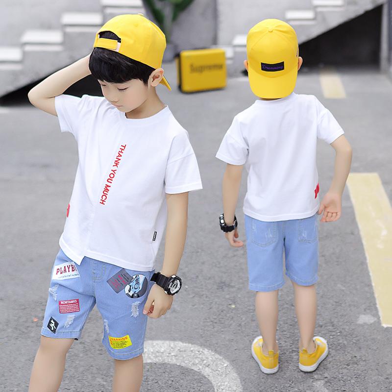 19款男童短袖套装夏季男童t恤纯棉衣服裤子夏装中大童洋气韩版潮