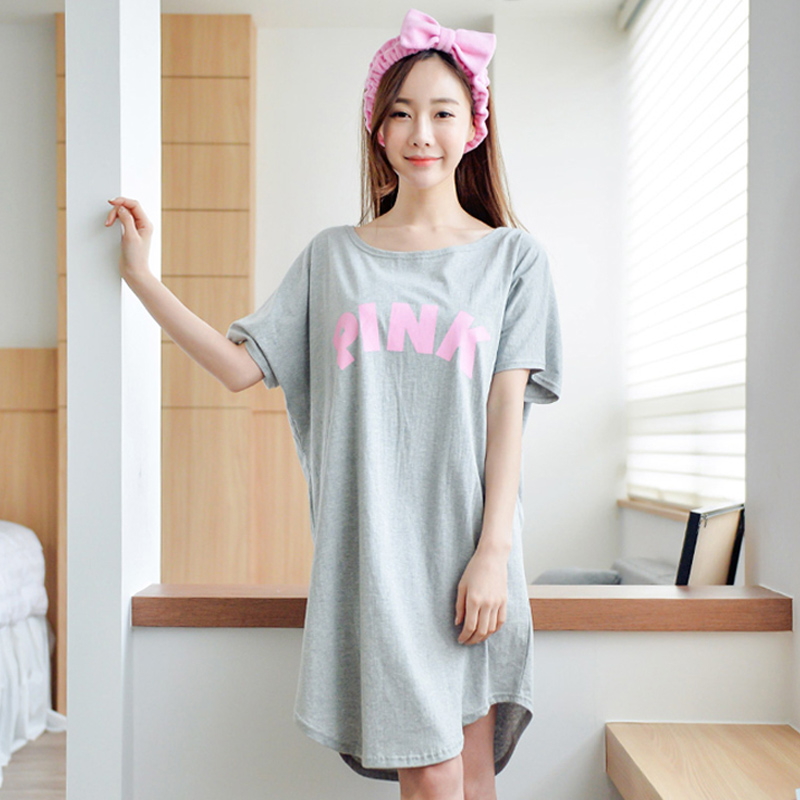 Sleeping skirt female summer thin section cotton short sleeve cute large  size loose pregnant women pajamas fat MM summer dress f538a62f1