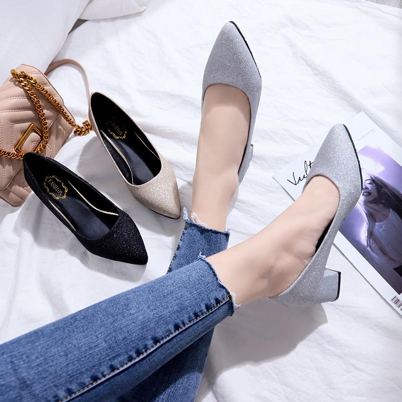 女夏2018新款银色磨砂尖头高跟鞋韩版百搭粗跟浅口单鞋中跟工作鞋