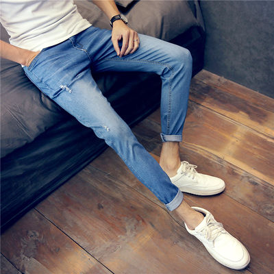Autumn men's hole jeans thin section youth slim nine pants trend retro boys 8 eight points pants 9