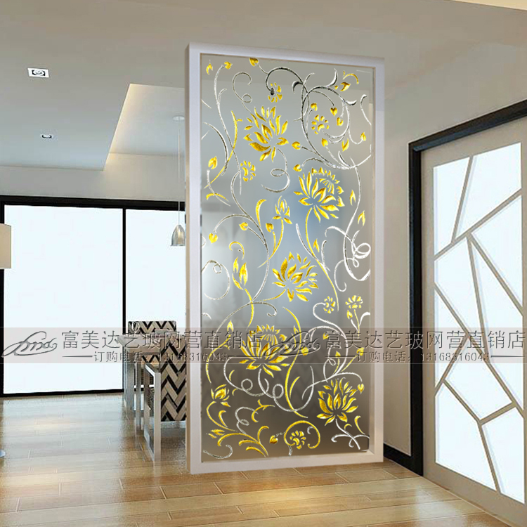Craft Gl Xuan Guan Parion Simple Art Gateway Background Wall Living Room Frosted