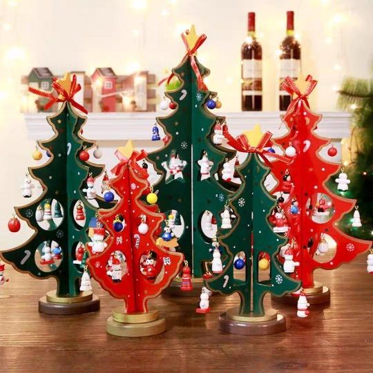 桌面木質聖誕樹擺件小孩DIY組裝聖誕樹禮品店鋪櫥窗聖誕樹裝飾品