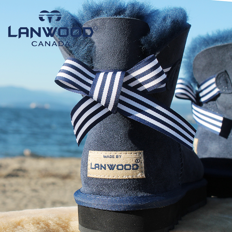 羊皮毛一体!加拿大 Lanwood  蝴蝶结雪地靴