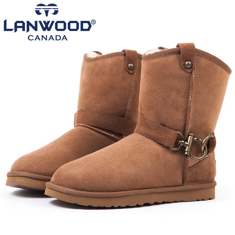 4.8折!羊皮毛一体!lanwood 情侣款中筒雪地靴