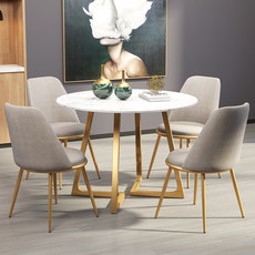 Nordic marble dining table and chairs combination negotiate the sales office light luxury restaurant reception department small round table and four chairs