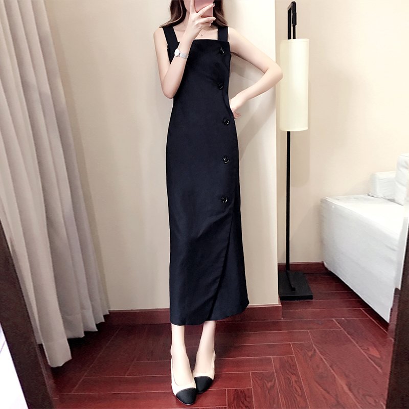 4a11e8eb7be6 Sling dress female summer dress 2018 popular women s new long paragraph  skirt word shoulder temperament over the knee skirt