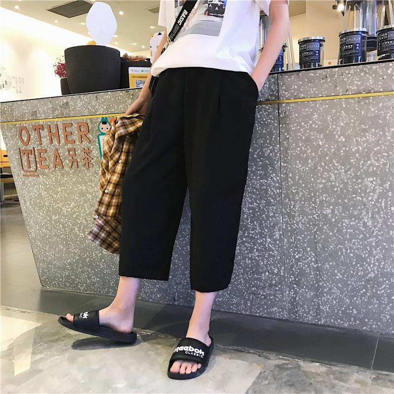 Mùa hè tám quần nam thanh niên thẳng quần chân rộng quần harem sinh viên lỏng thể thao giản dị dụng cụ chín quần