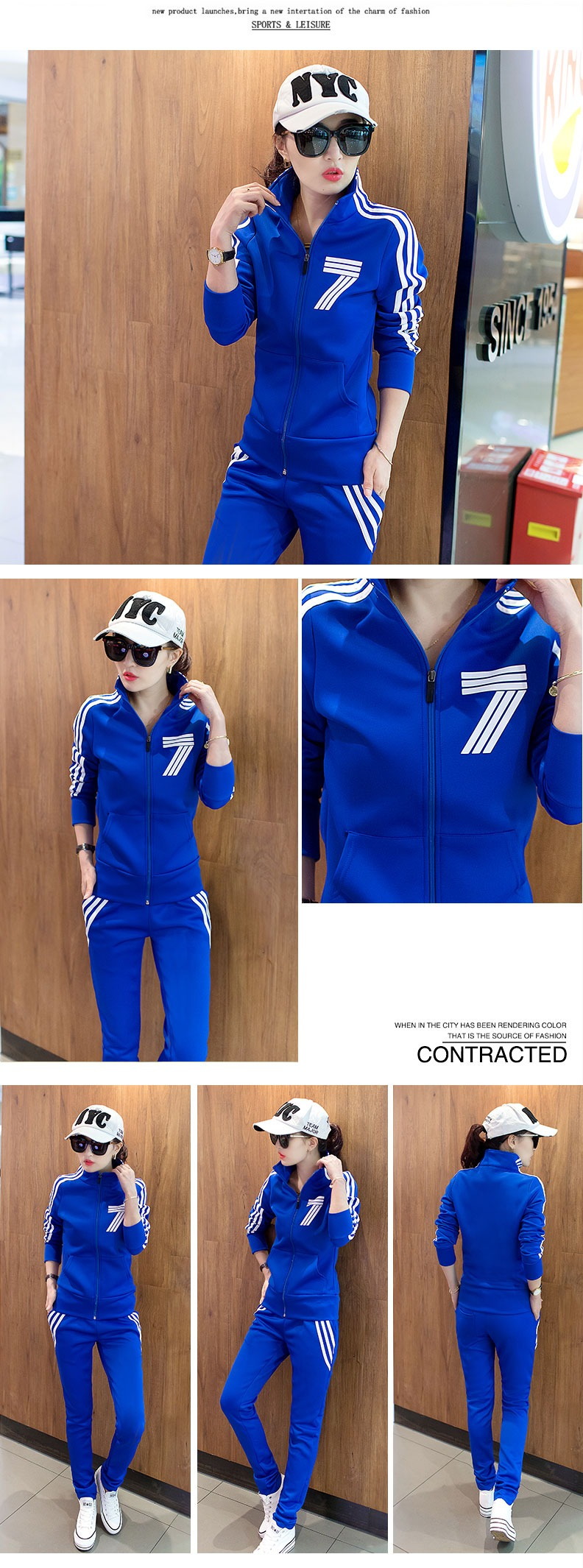 Spring and autumn Korean version of the slim collar zipper casual sportswear suit ladies long-sleeved two-piece suit 18 Online shopping Bangladesh