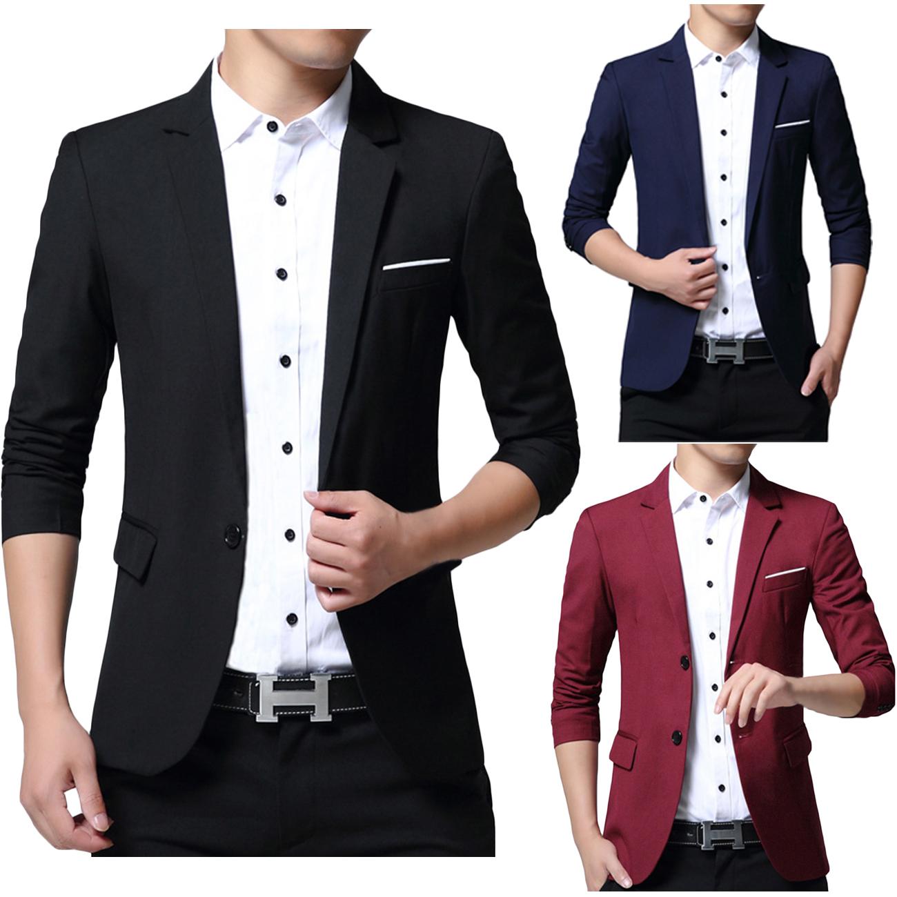 Men Blazer Jacket Lightweight Casual Slim Fit Suits Casual Button ...