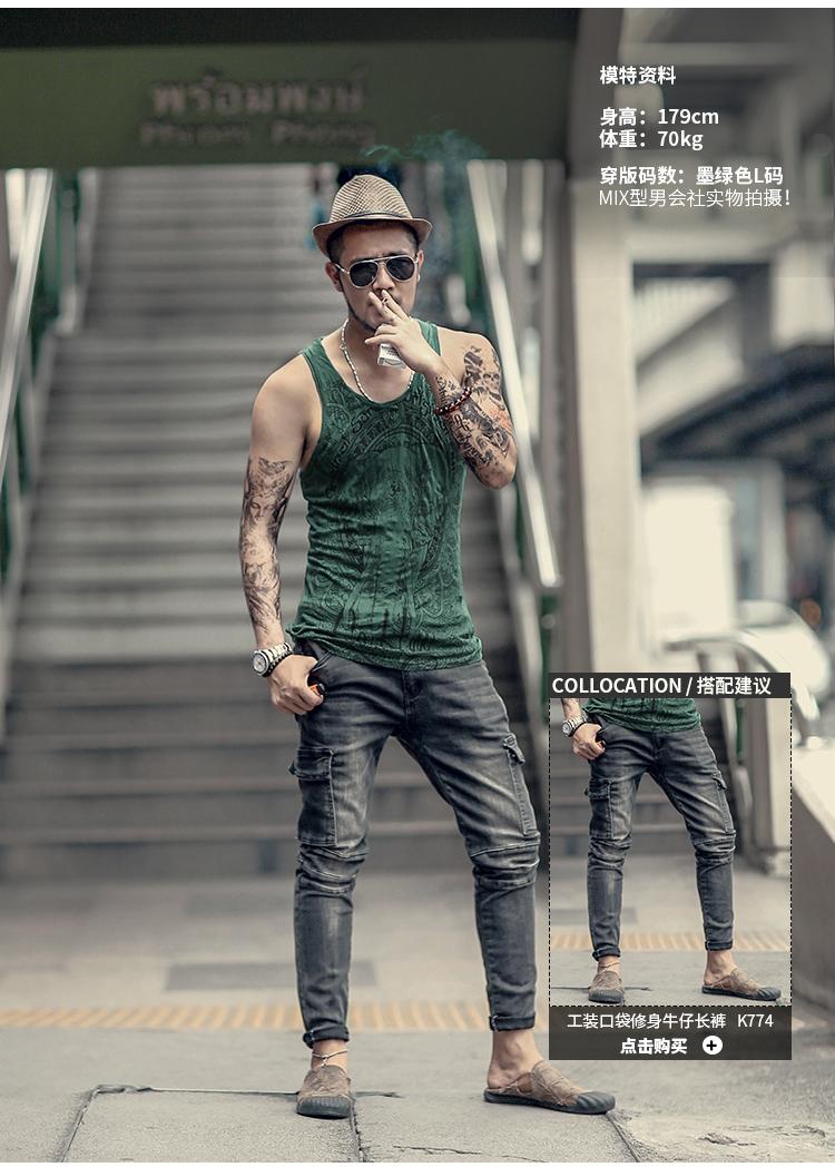 Grey Men Tank Top Casual Fitness Singlets Brand Mens Sleeveless Gasp Hip Hop Vest Elephant Print Cotton undershirt T680 15