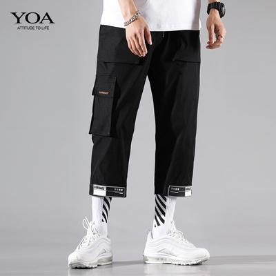 YOA夏季八分裤男潮牌宽松休闲直筒裤魔术贴束脚裤男8分工装裤子