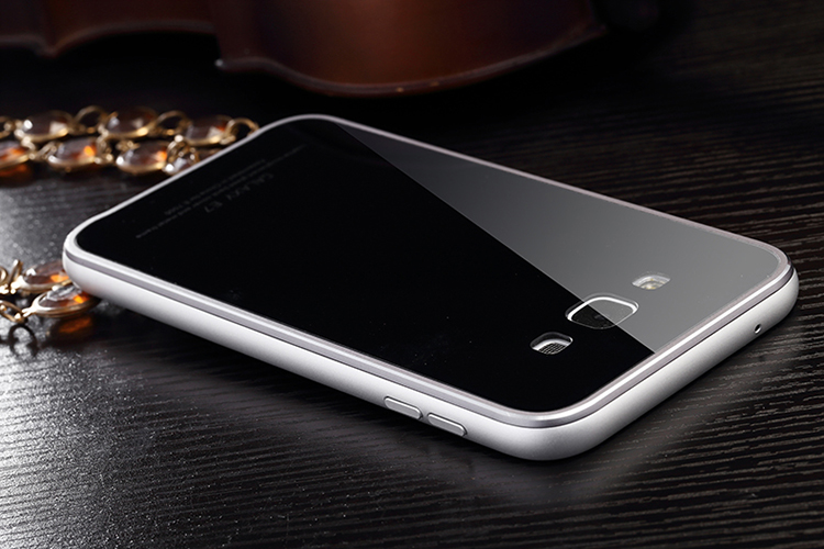 Luphie Aircraft Aluminum Metal Frame 9H Tempered Glass Back Cover Case for Samsung Galaxy E7 E7000