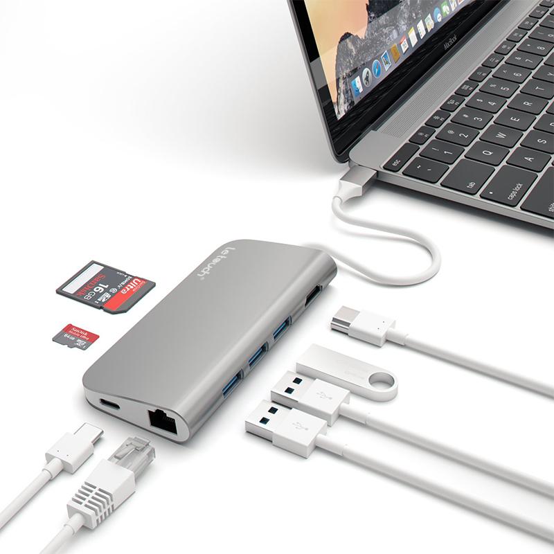 苹果笔记本MACBOOK PRO 雷电3转接HUB扩展转接 USB-C转换器type-c_英家券