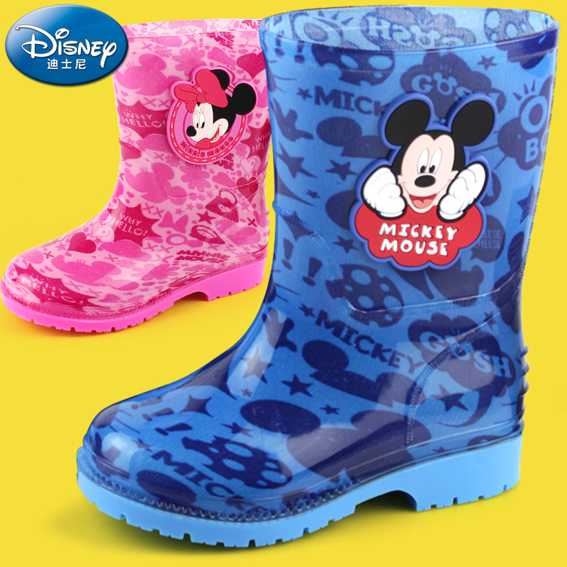 Disney ребенок сапоги мальчиков девочки младенец ребенок сапоги дети клей обувной ребенок в больших детей вода обувной скольжение