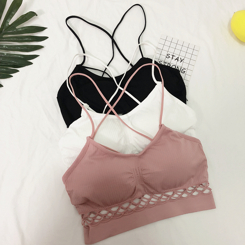 8fa4a60fce2 Korean version of the summer tube top women gathered wrapped chest straps  beauty back vest no steel ring sports underwear bra tube top women