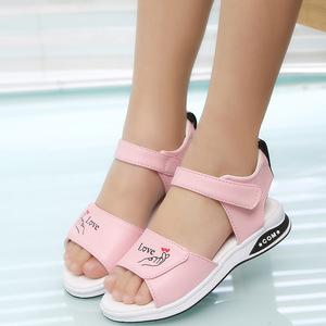 凉鞋女童公主鞋软底中大童平底新款沙滩鞋