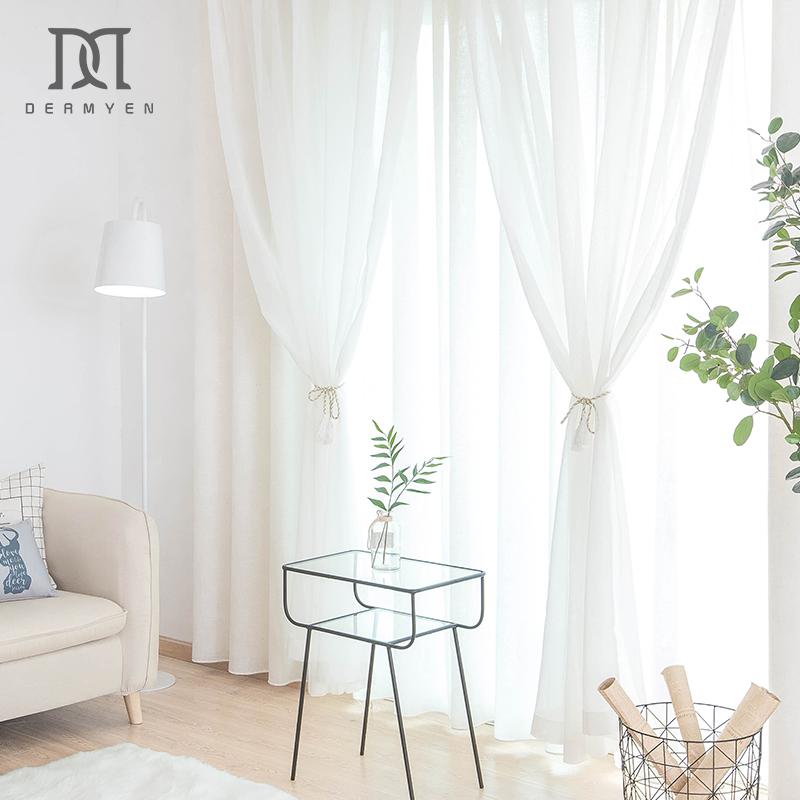 北欧简约窗帘纱帘透光不透人阳台卧室客厅飘窗半遮光白纱薄纱成品