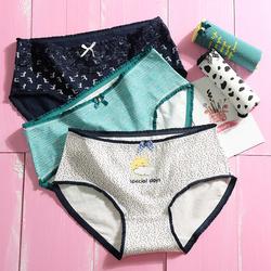 女士内裤女100%纯棉裆大码中腰全棉质性感蕾丝少女无痕抗菌三角裤