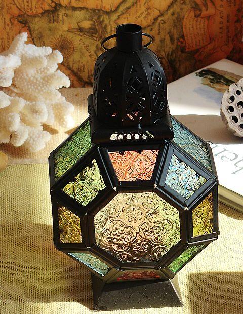 Подсвечник Сплетни марокканском стиле кованые цветного стекла урагана лампы/Свеча держатель/терраса дома орнамент сада